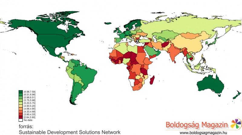 A Föld országainak boldogsága 2015-ben
